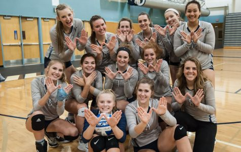 The volleyball team is all smiles