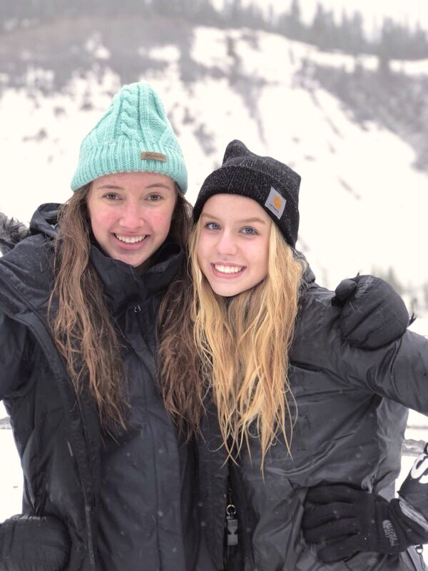 Ally Finkbeiner and Kylee Rusher are all smiles in the snow.