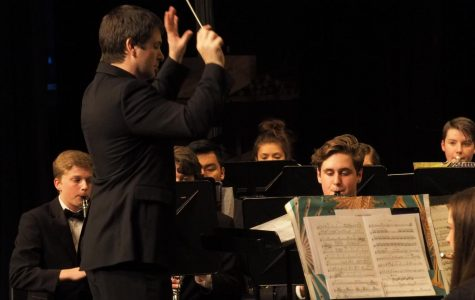 Mr. Davies conducts the symphonic band.  Tuesday's concert showcased our diversity of talent.