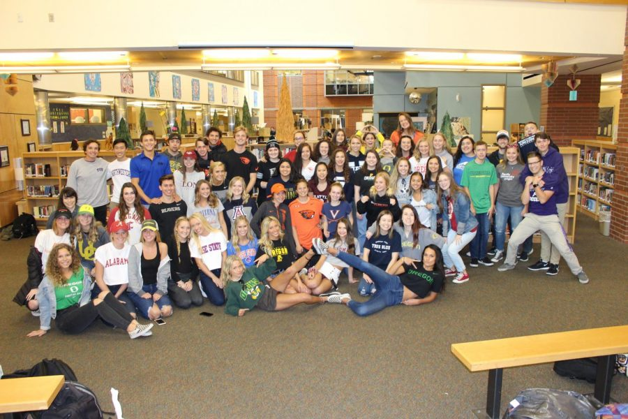 Seniors gather in pointe for decision day photo. They are ready for their next adventure.
