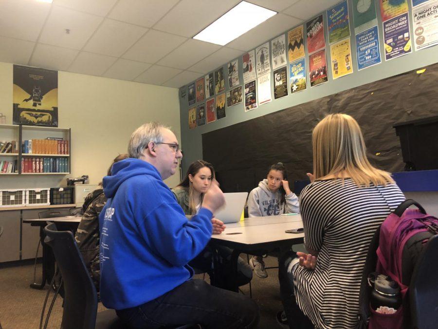 Mr. Fitzgerald teaching his AP English class