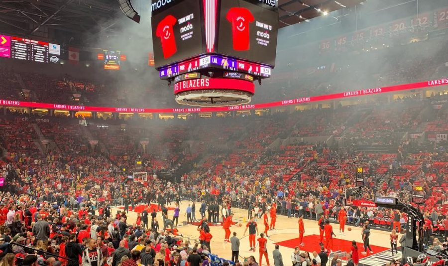 The+Trail+Blazers+warm+up+at+the+Moda+Center+before+the+game+begins