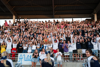 Photo taken by Gregg Artman of the student section at the Homecoming Game
