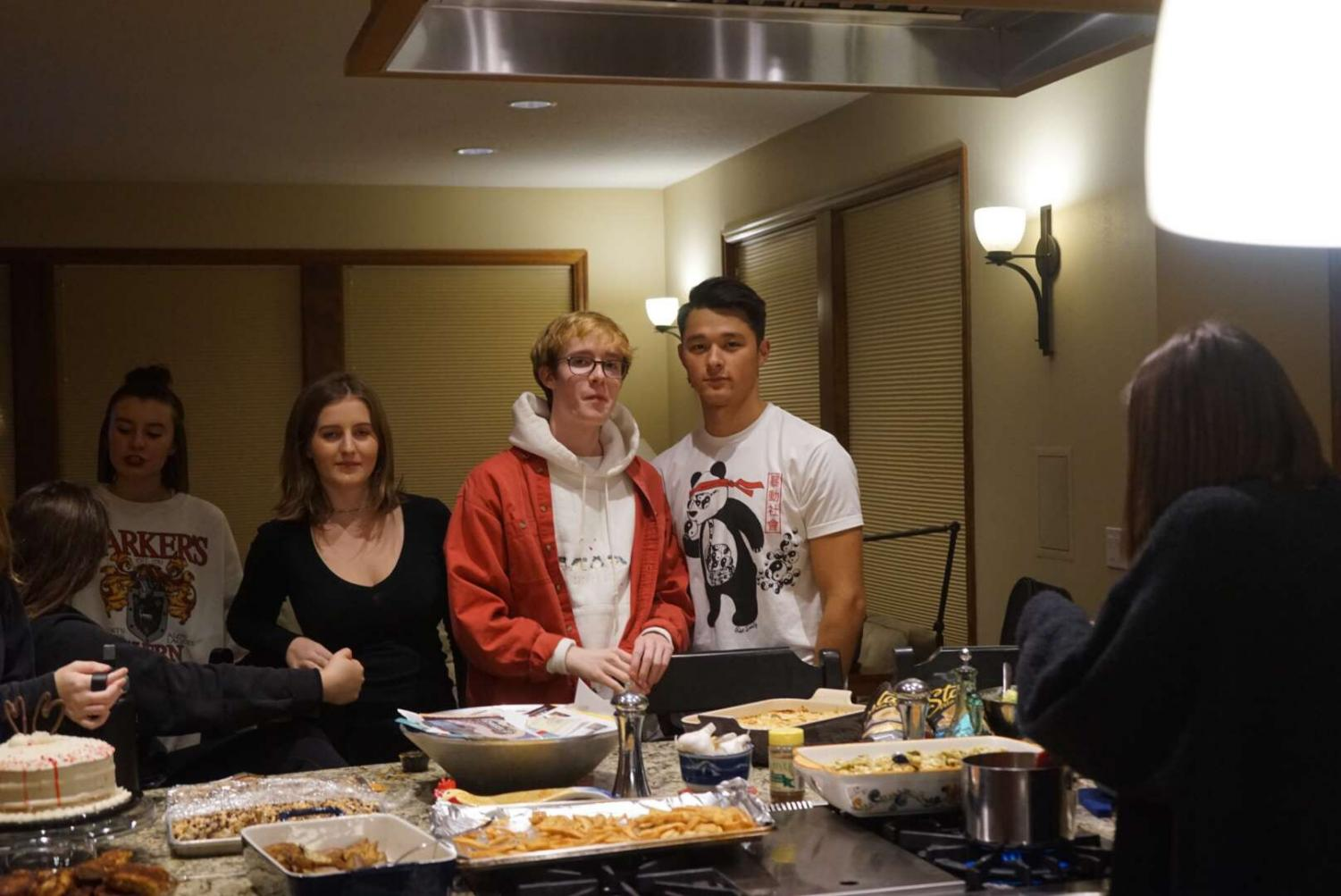 Friends, Honour Colby, Alaina Bekebrede, Ian Flynn, and Hunter Steidler enjoying their friendsgiving meal together