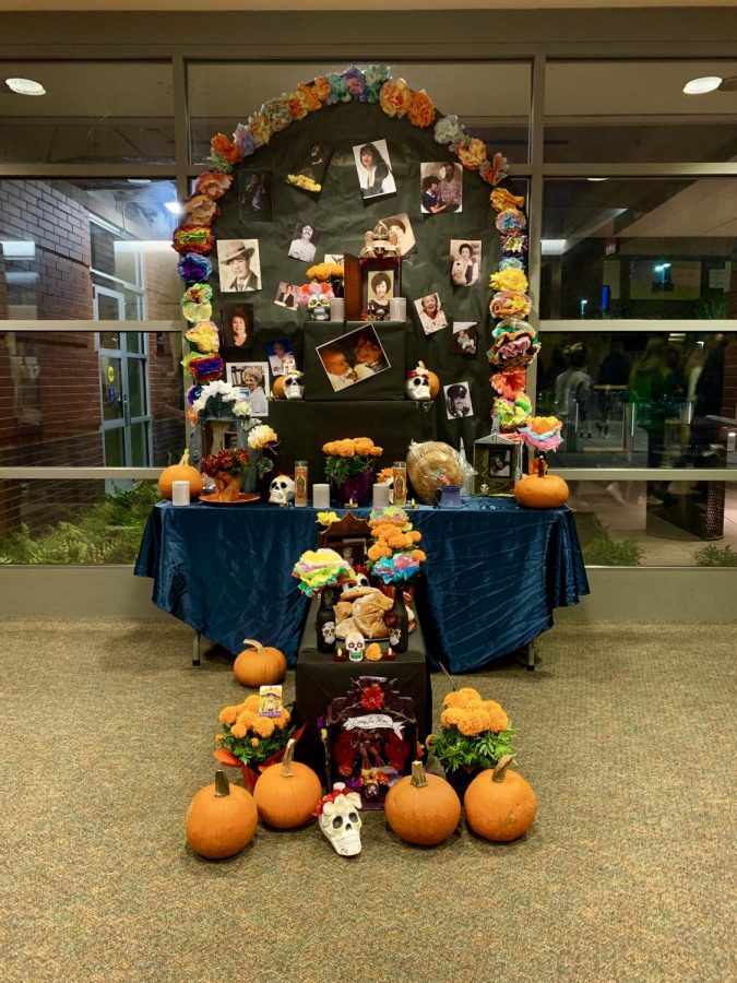 The+Ofrenda+created+by+MEChA+and+NAHS+students%2C+featuring+celebrities%2C+family%2C+and+friends+who+have+passed+away.