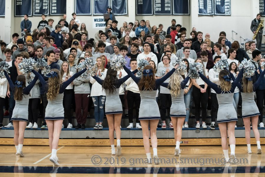 The+cheer+team+roots+on+the+Wildcats.+Wilsonville+captured+the+win+on+senior+night.+