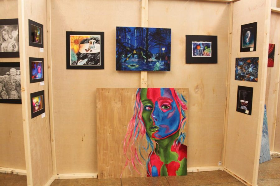 Pictured above is a collection of fine arts works from photography, acrylic painting, and drawing.
