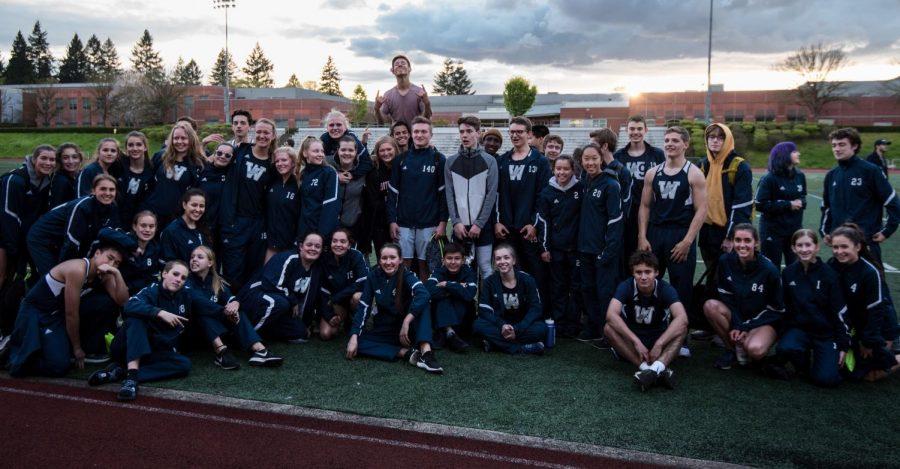 Last year's track team after the final league meet against Parkrose & Putnam. Photo by Greg Artman.