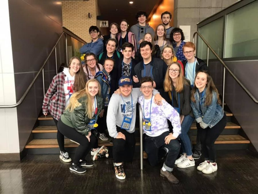 Members+of+Wilsonville%27s+thespian+troupe+pose+at+the+end+of+the+state+festival.++The+team+is+already+preparing+for+next+year.