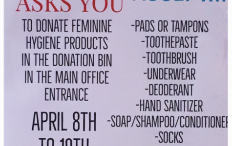 A poster advertisement for the Female Empowerment club's feminine hygiene drive.
