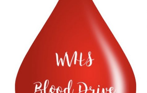 Poster that promotes the Blood Drive at Wilsonville High School. Blood donations go to the Red Cross.