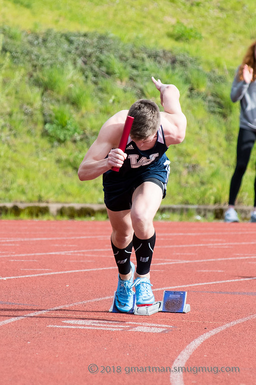 Payton Dart comes out of the blocks in the 4x100 meter relay. Dart anchored the 4x400 team on Wednesday and managed to secure the win in an exciting and down-to-the-wire race.
