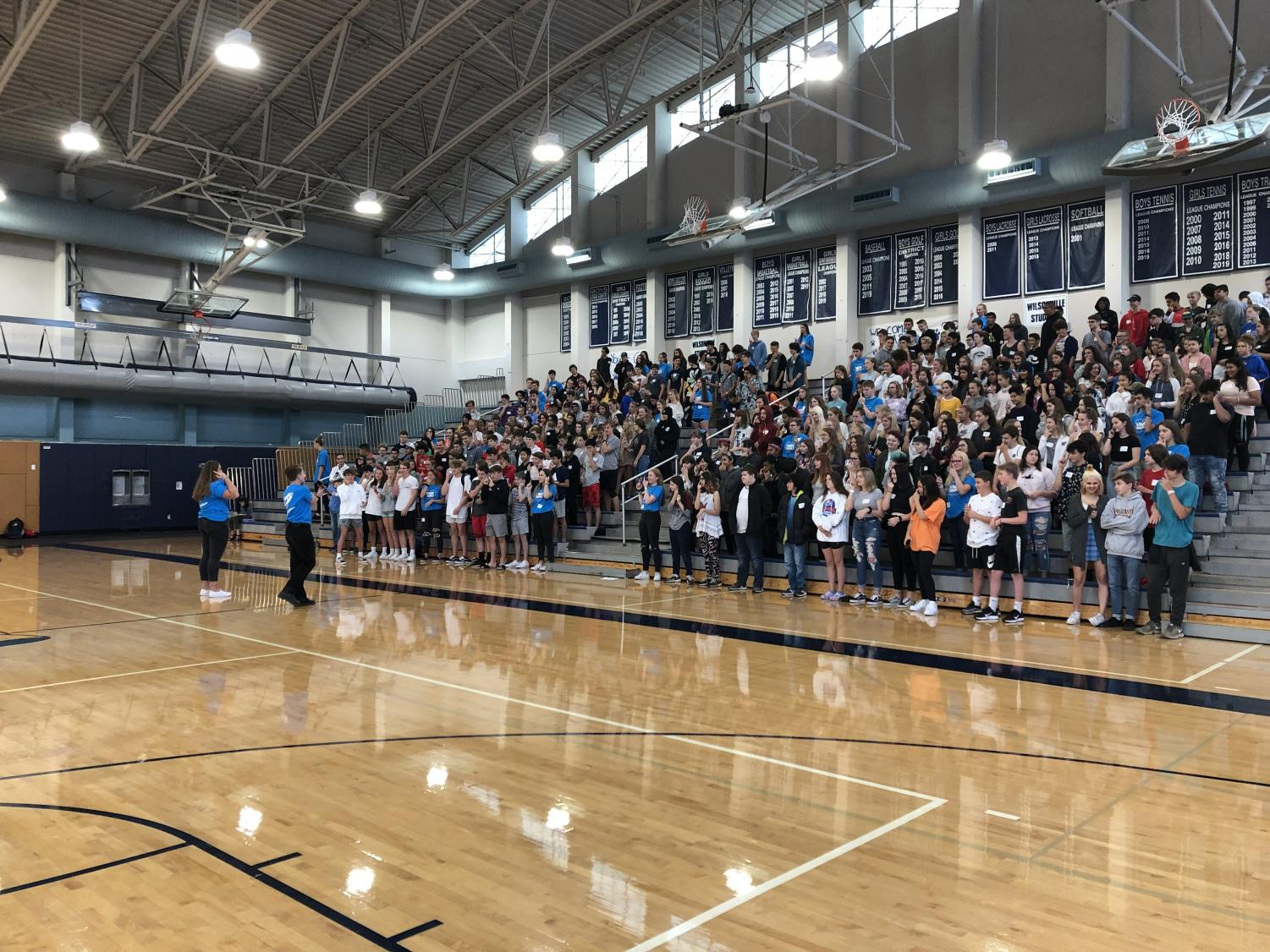 Pictured above two Link Crew Leaders directing the incoming freshmen in a game. The leaders had fun with the new students, and the freshmen are now ready to head into high school.