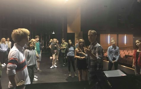 Andrew Bray leads theatre students in an audition workshop.  Auditions for the Fall musical begin on Tuesday September 3, 2019
