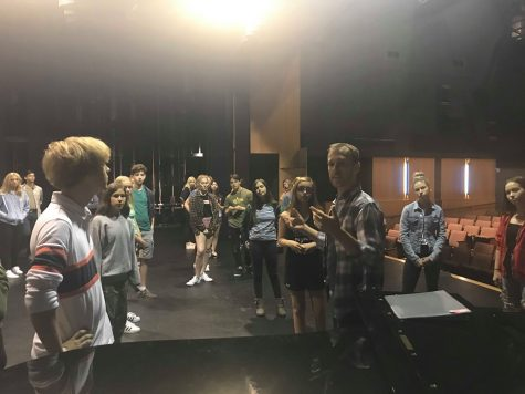 "Students behind the scenes of ""Legally Blonde: The Musical"""