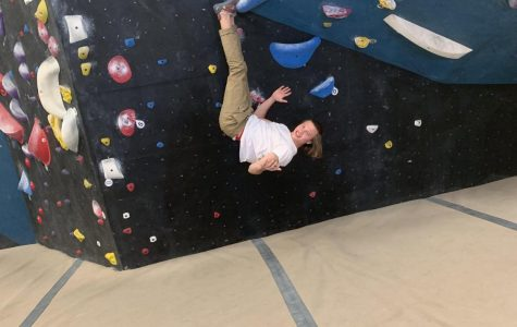 Pictured above is Oliver Hardt hanging at the Circuit Bouldering Gym in Tigard