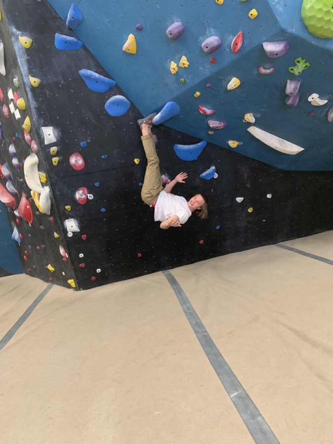 Pictured+above+is+Oliver+Hardt+hanging+at+the+Circuit+Bouldering+Gym+in+Tigard