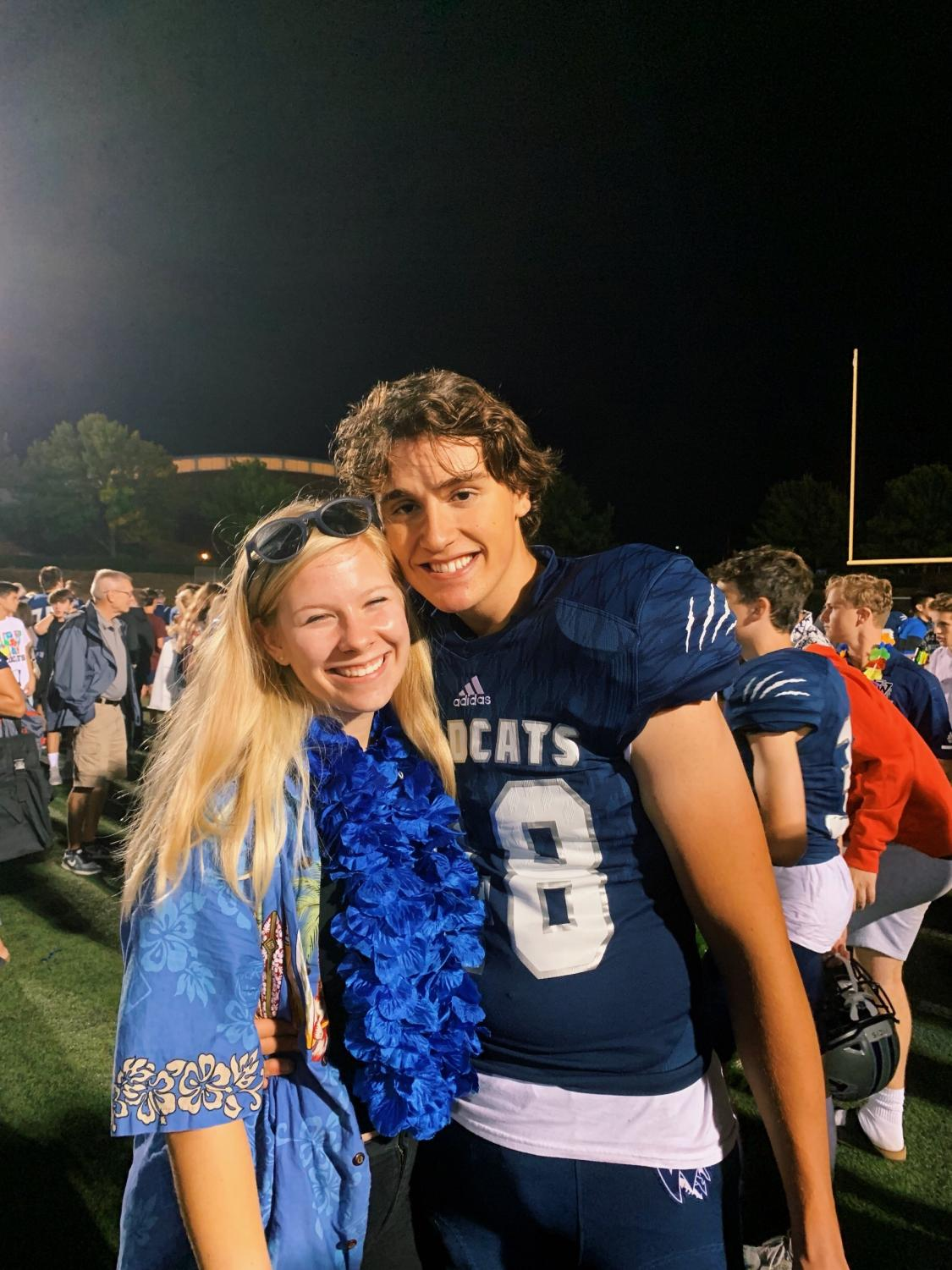 Seniors Meghann Yochim and Jared Wieland pose for a picture after Wilsonville's loss on Friday Photo credit Meghann Yochim