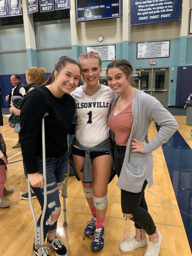 Senior+captain+%26+libero+Gracie+Thompson+with+Alyson+Johnston+and+Jackie+Foltz+after+Tuesday%27s+win+over+La+Salle.