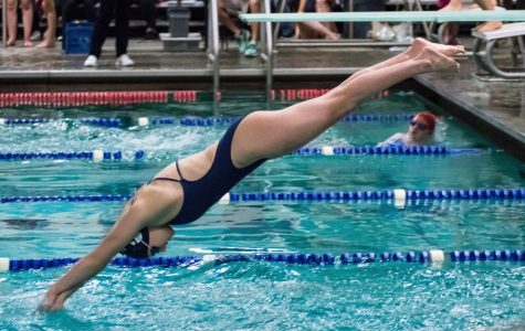 Abby Maoz swims the 50-yard breaststroke in the 200 medley relay. Maoz has broken many state records during her high school career.