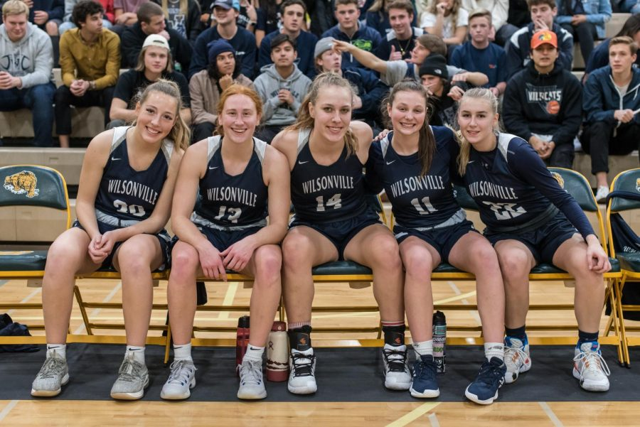 Wilsonville%27s+starters+pose+before+the+tipoff.+The+Wildcat+starting+five+played+the+majority+of+the+fourth+quarter+and+led+the+team+to+the+victory+over+Churchill.