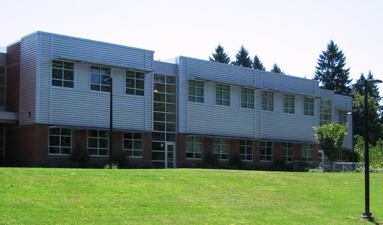 School doors at Wilsonville high School.