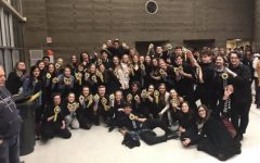 Wilsonville thespians assemble at the end of a long day at regionals.  The next step is the state competition in April.