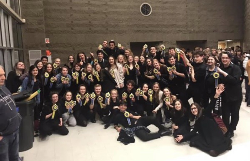 Wilsonville+thespians+assemble+at+the+end+of+a+long+day+at+regionals.++The+next+step+is+the+state+competition+in+April.