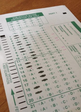 Picture of a filled out scantron. The actual SAT will be taken on a scantron similar to this.