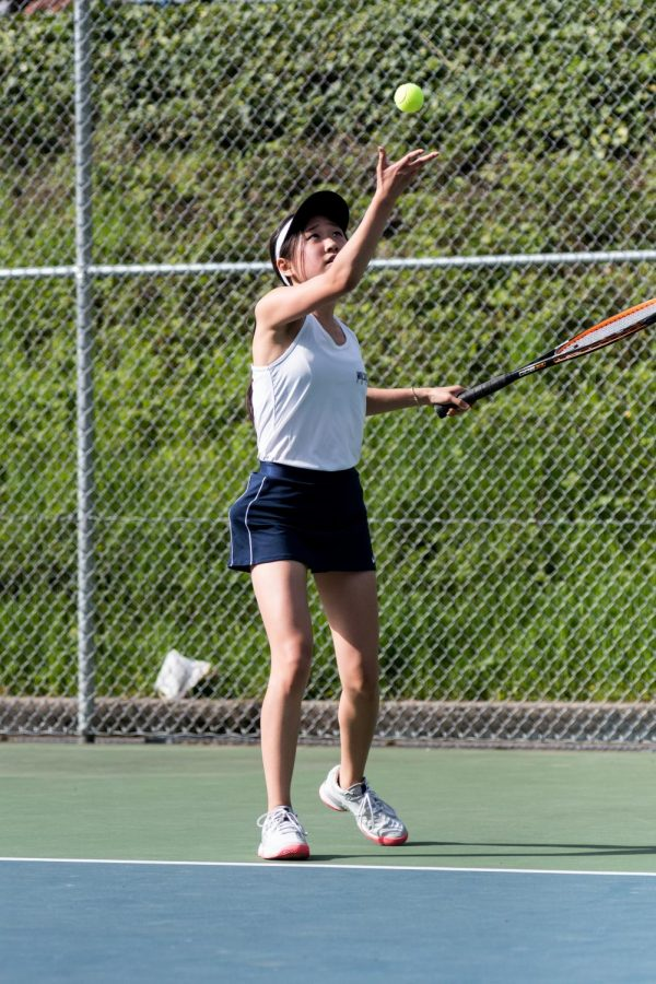 Sydney Byun, now a senior at Wilsonville High School, during the 2019 tennis season.