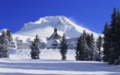 Timberline Lodge with fresh snow. Photo credit Flickr.