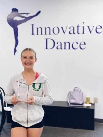 "Halle Olsen receives the ""Dancer of the Year"" award from Innovative Dance Studio.  After 10 year at the studio, Olsen looks forward to new adventures."
