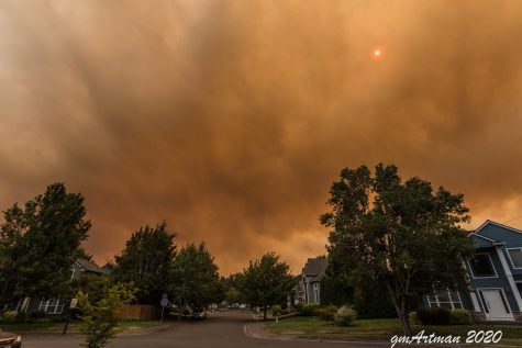 The Wilsonville skies filled with smoke. The Beachie Creek fire has rapidly spread, causing smoke and orange skies for miles.