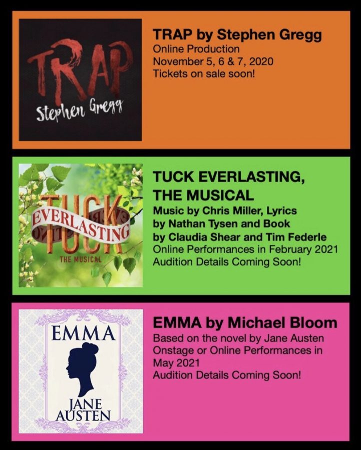 This years theater schedule including Trap, Tuck Everlasting, and Emma.