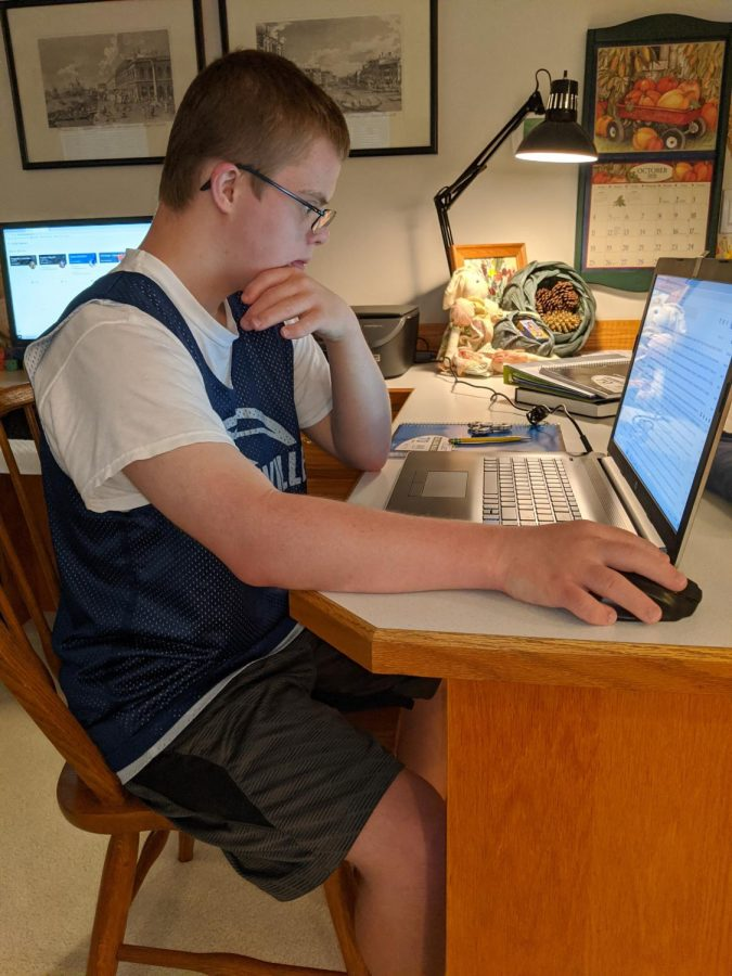 Michael+Hassler+concentrates+on+an+online+assignment.++Distance+learning+presents+challenges+for+students+and+teachers.