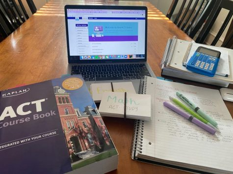 Sara Stewart shows her personal ACT study requirements. She has it all- flashcards, prep book and courses.
