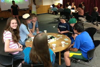 Teens participating in fun activities at the Wilsonville Public Library.