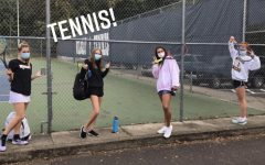 A group of senior girls at tennis practice earlier this fall season. Many students would attend practices after school like these four girls. Peyton Tolboe took this photo for her Friday takeover of