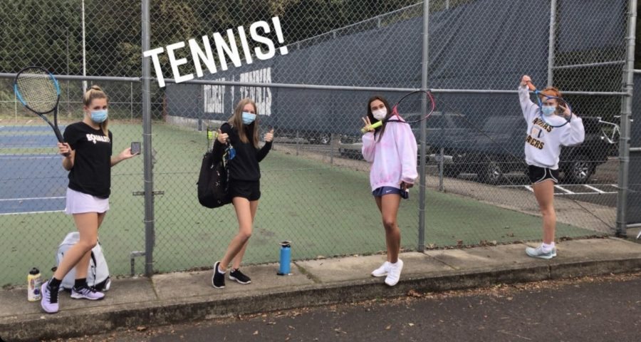 "A group of senior girls at tennis practice earlier this fall season. Many students would attend practices after school like these four girls. Peyton Tolboe took this photo for her Friday takeover of ""Meet the Crew."""