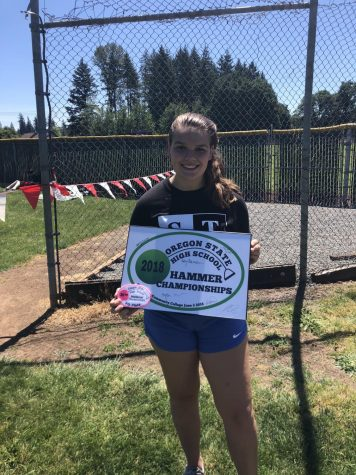 Senior, Maddy Jones showing off her athletic accomplishments at the 2018 state competition. Now Jones continues to pursue her dreams after signing to Notre Dame.