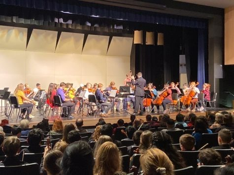 The orchestra class from last year performing at one of their concerts. Band and orchestra are hoping to release recordings of songs to make up for not being able to hold concerts.