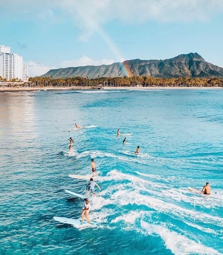 Surfers in Oahu