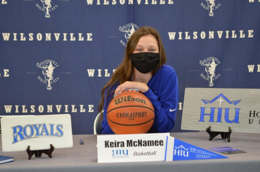 Senior Keira McNamee on her signing day. She will play basketball at Hope International University.