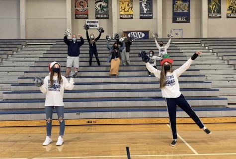 Carly Shanklin and her leadership classmates recording a clip for the winter assembly. The winter assembly will be shown in class on December 17, during 1st period.