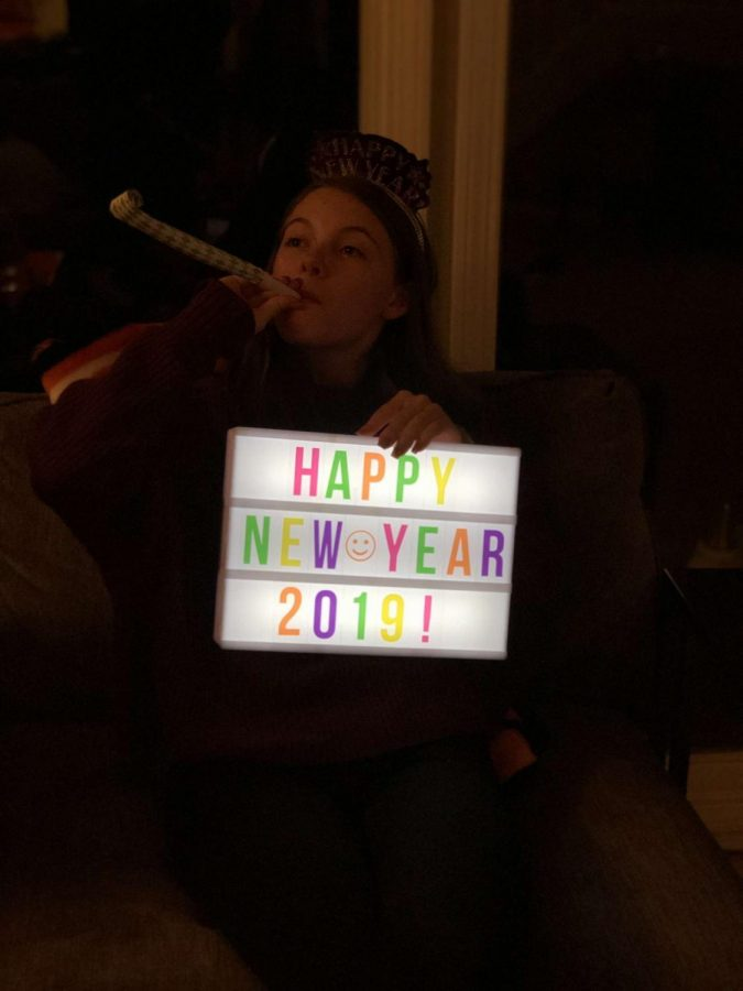 Senior Kate Jeffries celebrates the 2019 New year. It is a common tradition in the United States to have New Year