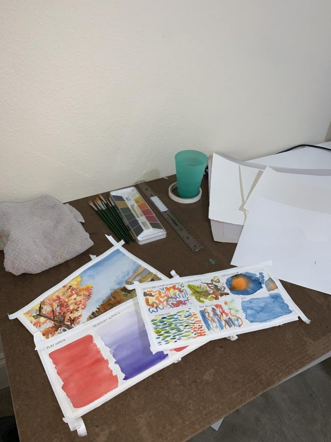 Abby Maoz's at home art set up. This year, students have to find space for their art projects at home.