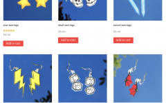 A peek into Ella's professional art website where she sells handmade earrings.