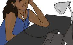 Girl sitting at desk experiencing zoom fatigue. Photo belongs too @Flat Hat News