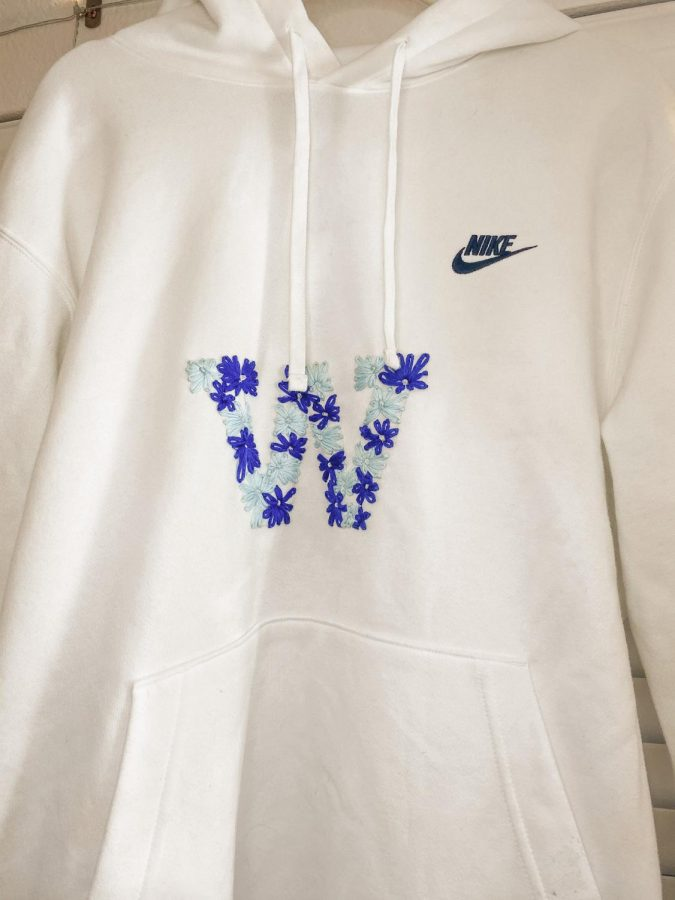 The embroidered sweatshirt made by Hunter Mcilmoil