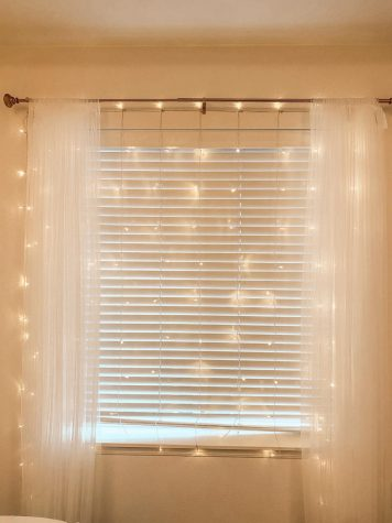 LED curtain lights in a bedroom